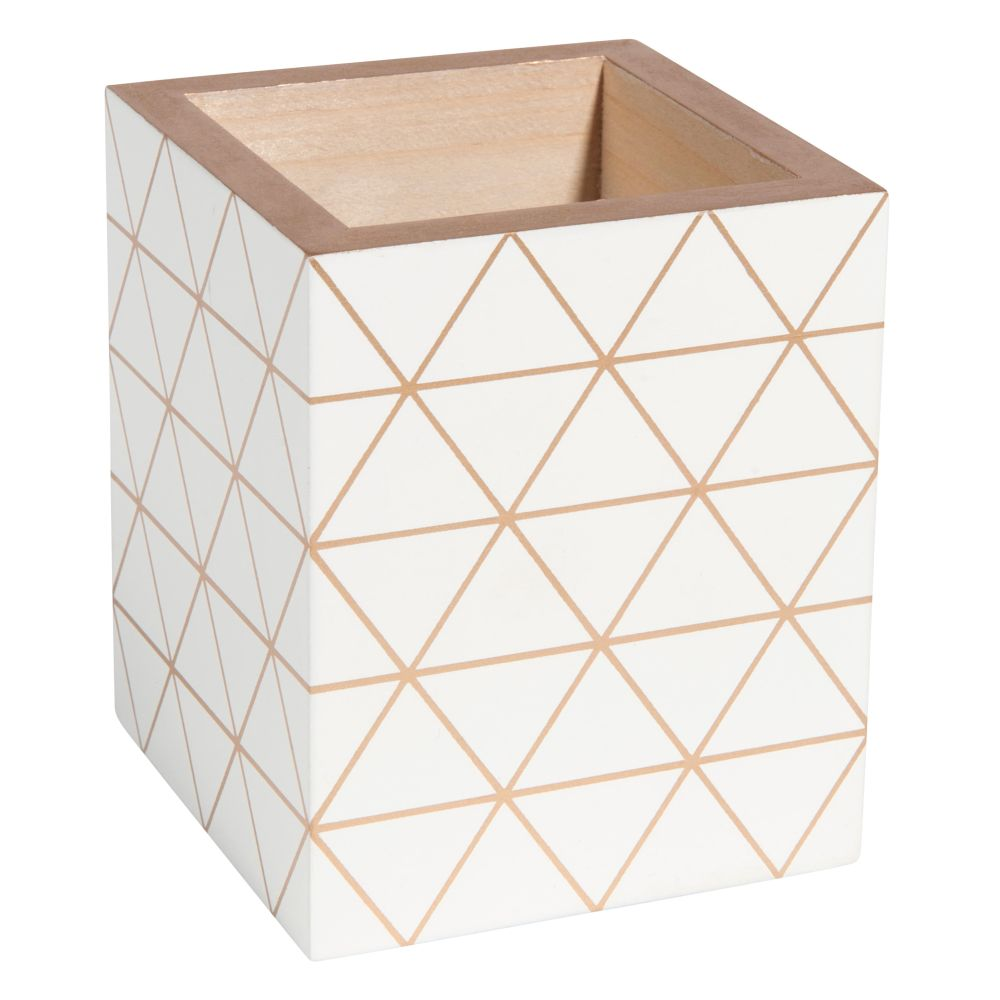 Pot à crayons blanc motifs triangles
