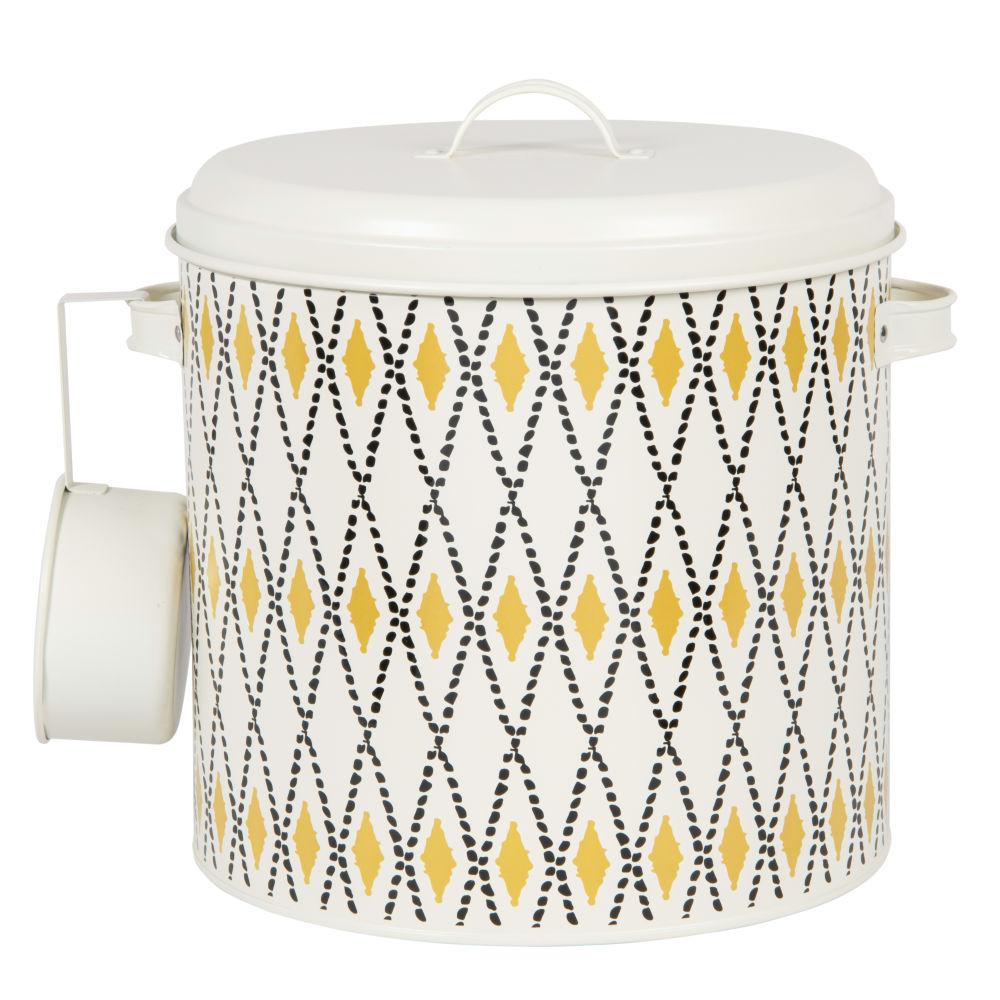 Pot à croquettes blanc motifs graphiques jaunes