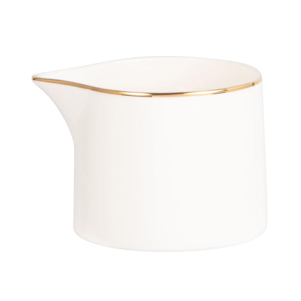 Pot à lait en porcelaine blanche et dorée