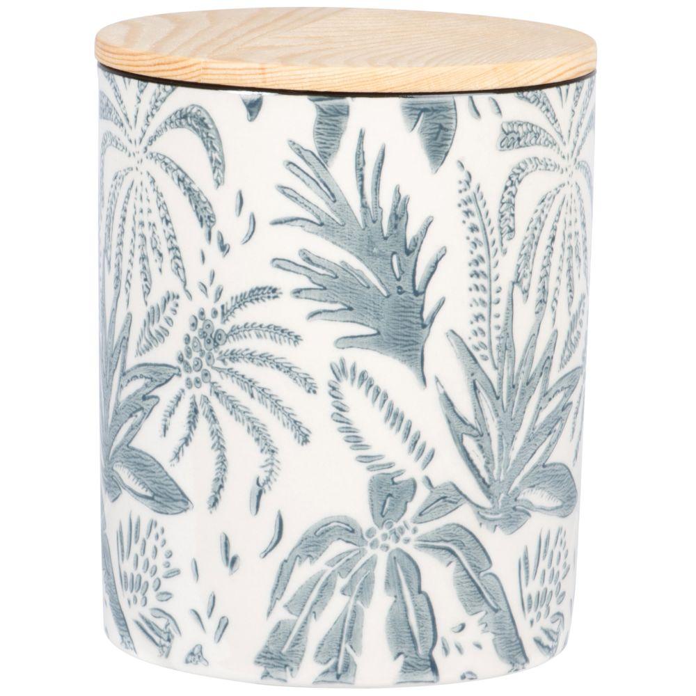Pot en faïence bleu clair et blanche motif végétal et couvercle en chêne H13