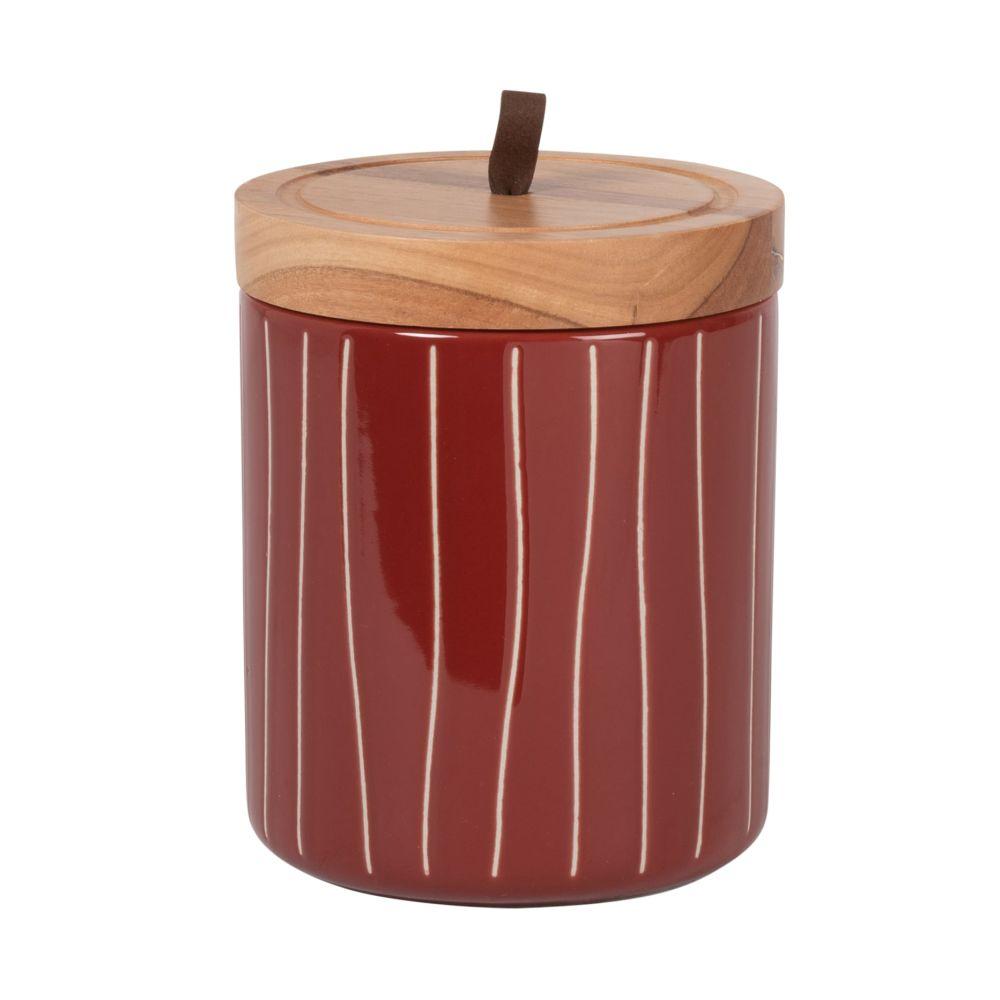 Pot en grès brun à motifs et couvercle en manguier H15