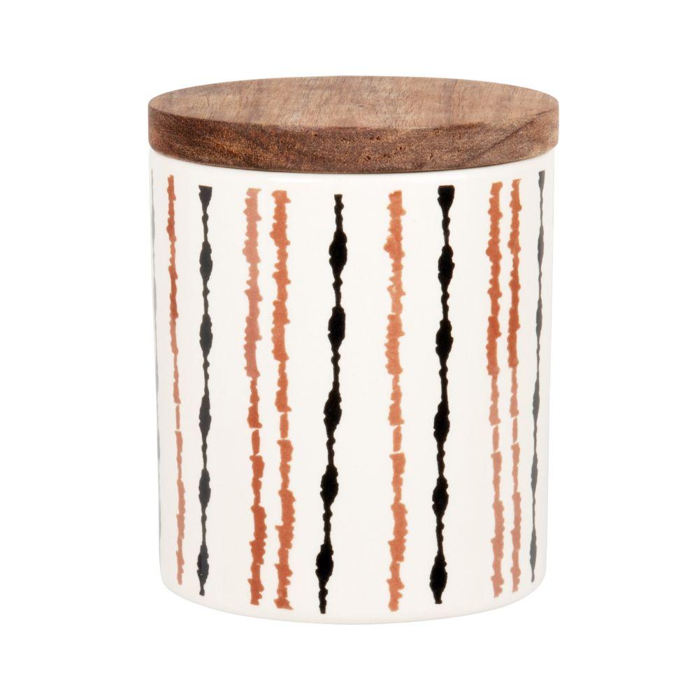 Pot en grès écru motifs graphiques noirs et marron et couvercle en acacia H11