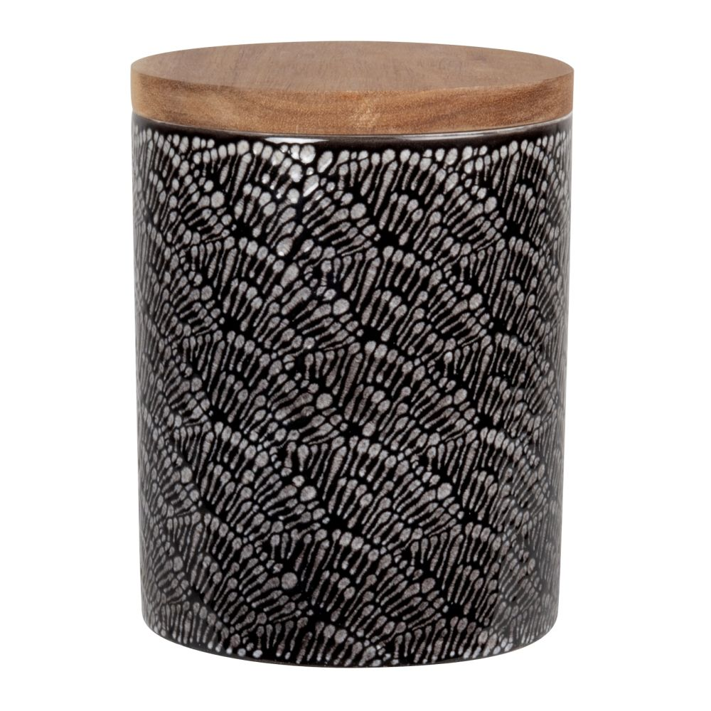 Pot en grès motifs graphiques écrus et noirs et couvercle en acacia H15