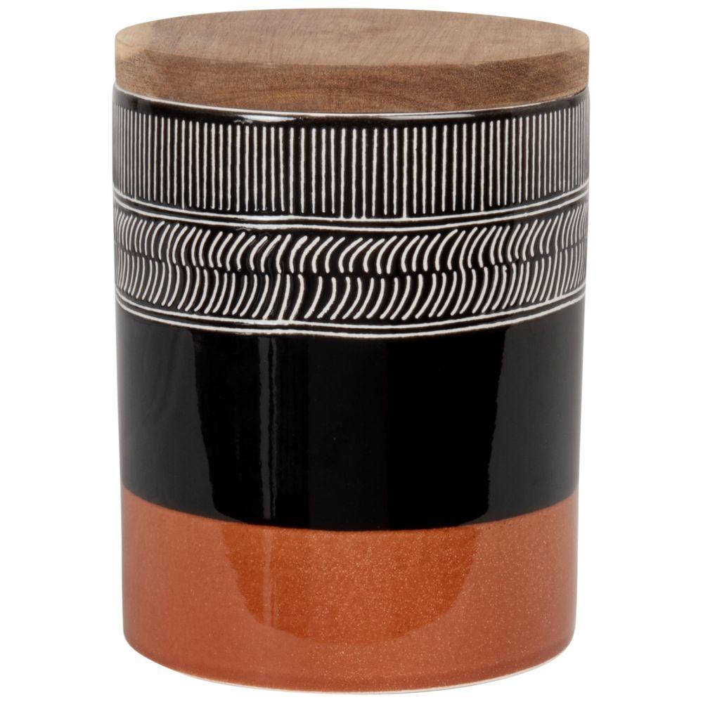 Pot en grès noir et marron et couvercle en acacia H15