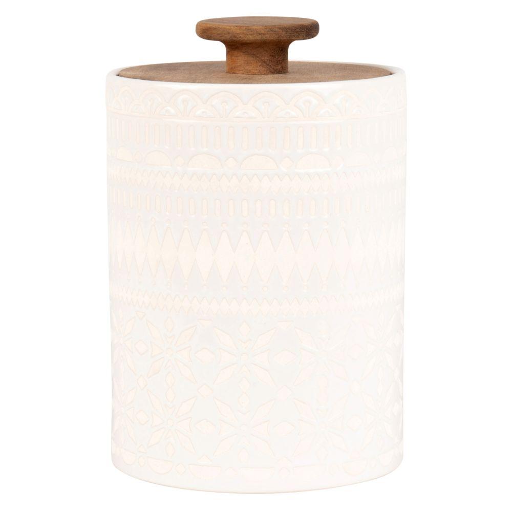 Pot en porcelaine blanche à motifs et acacia