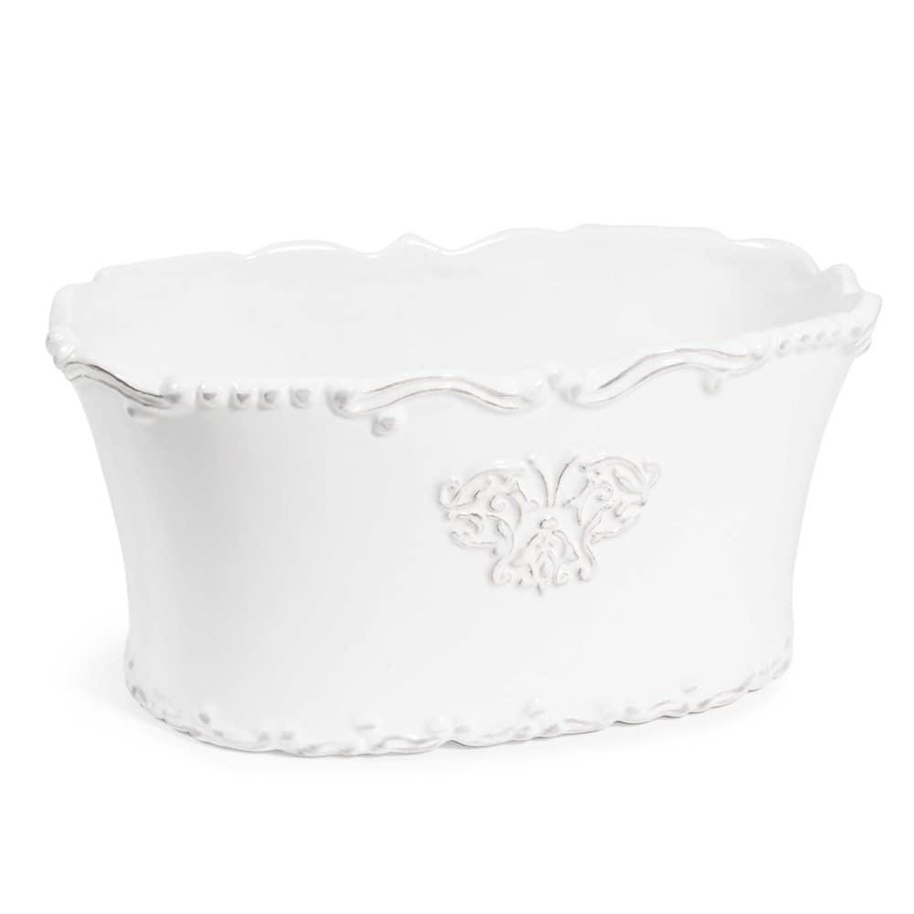 Pot ovale en céramique blanche H 11 cm