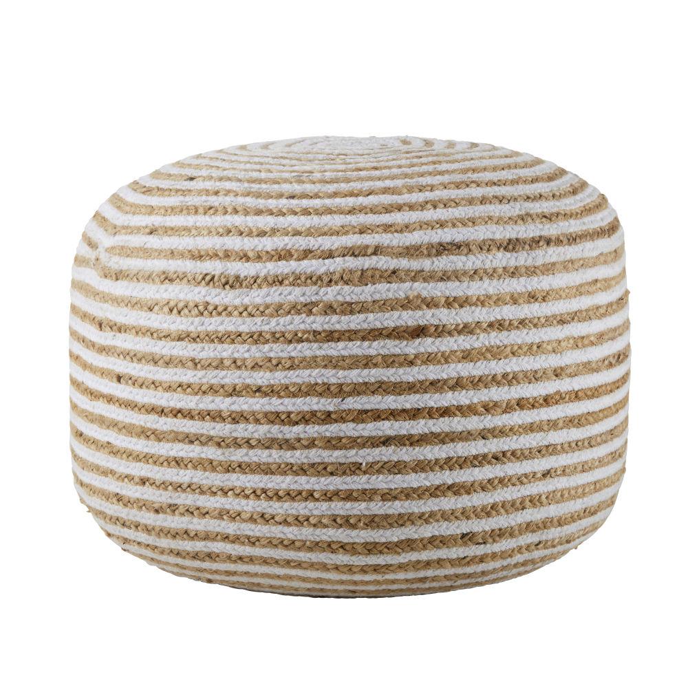 Pouf à billes en jute et coton à spirales blanches