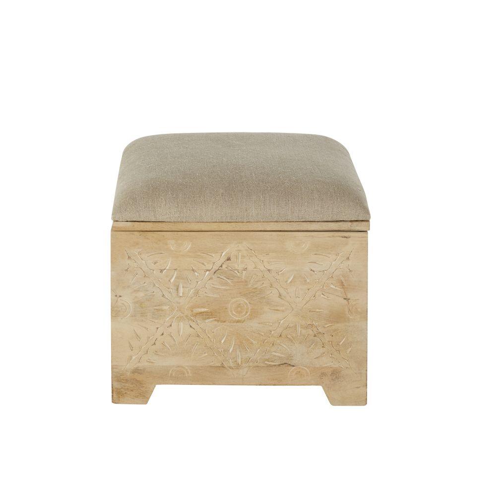 Pouf coffre sculpté en lin beige