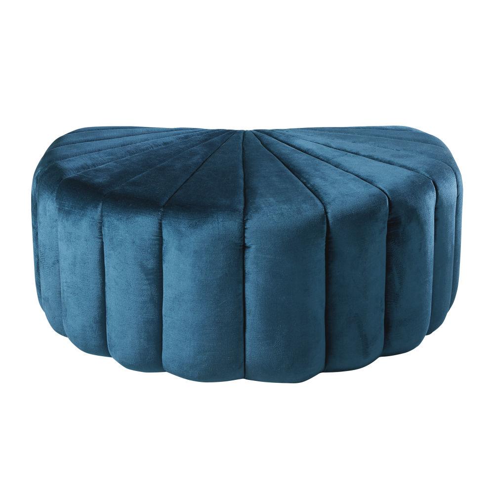 Pouf coquillage en velours bleu et pin