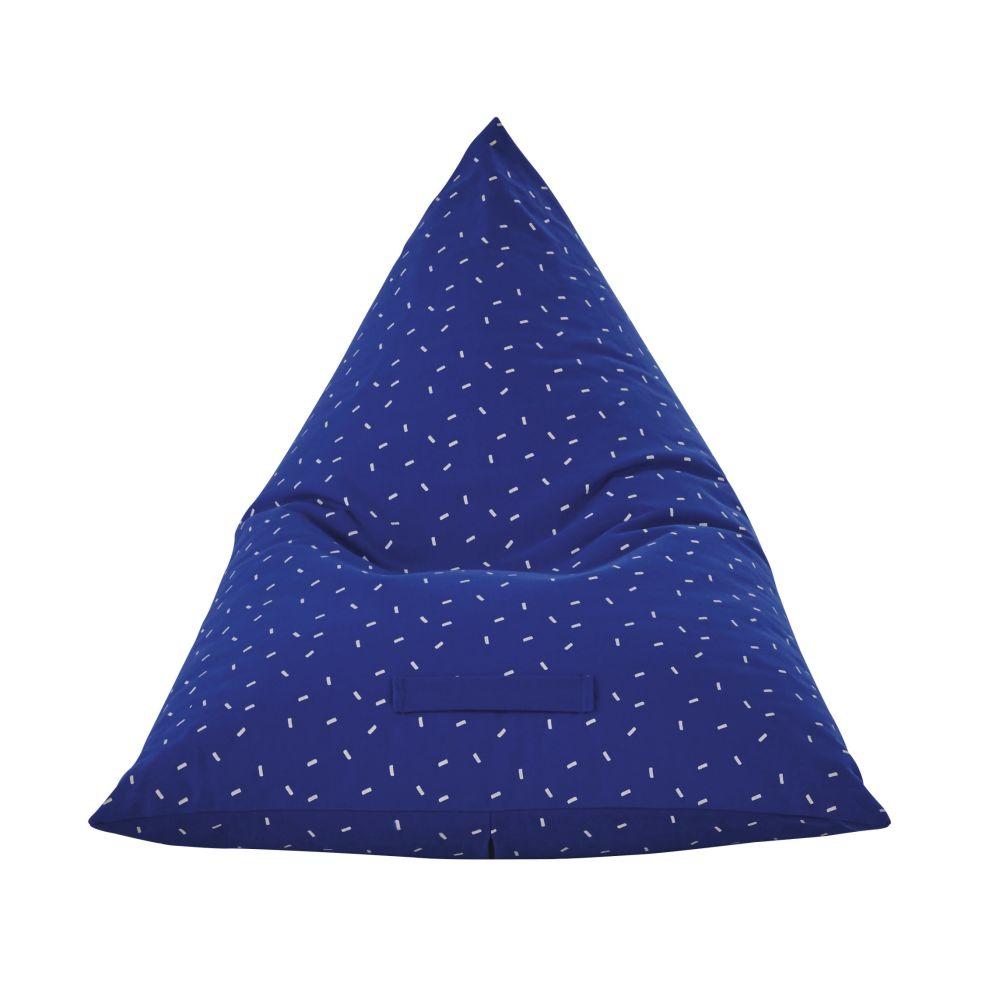 Pouf en coton canvas bleu motifs graphiques blancs