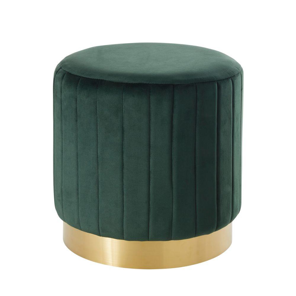 Pouf en velours vert et métal doré