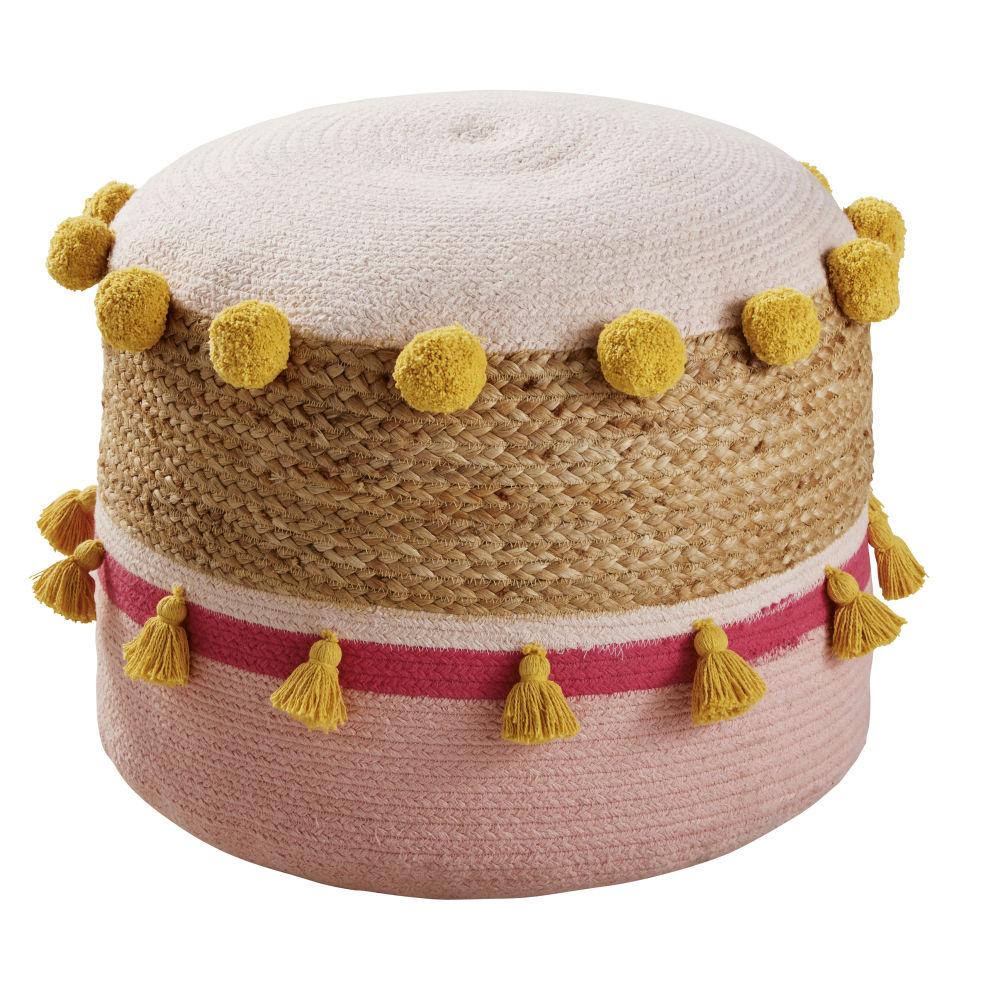 Pouf enfant en coton et jute tressés multicolores à pompons