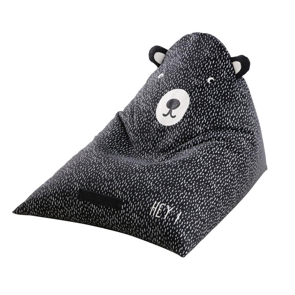 Pouf enfant ours noir et blanc imprimé