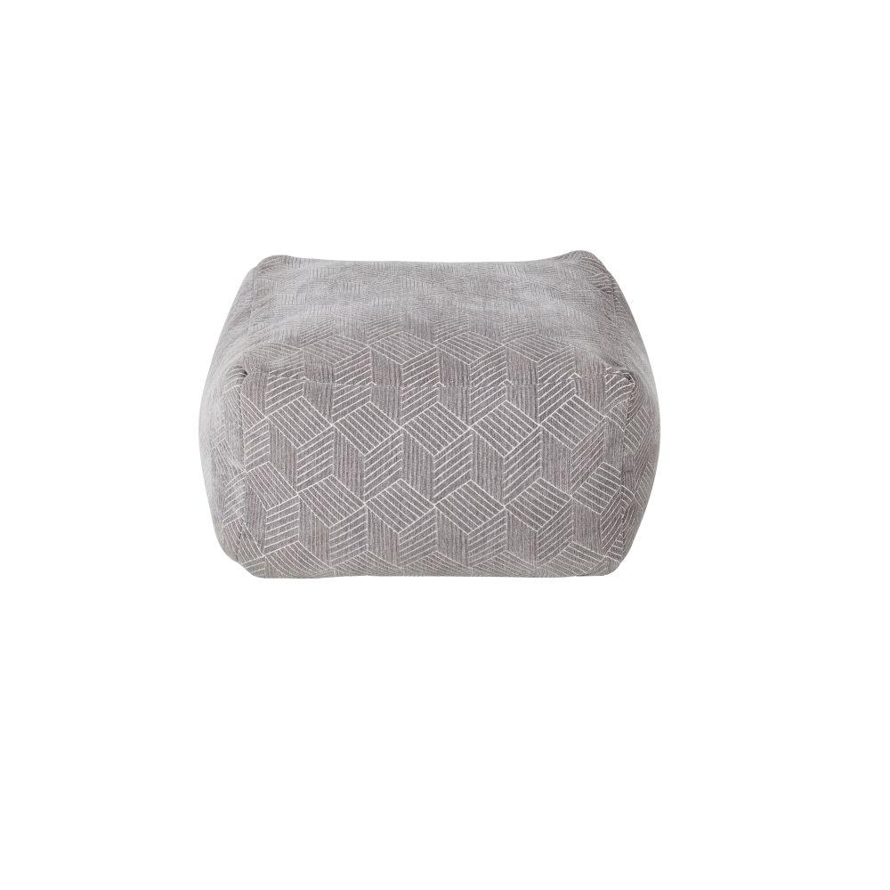 Pouf gris à motifs graphiques