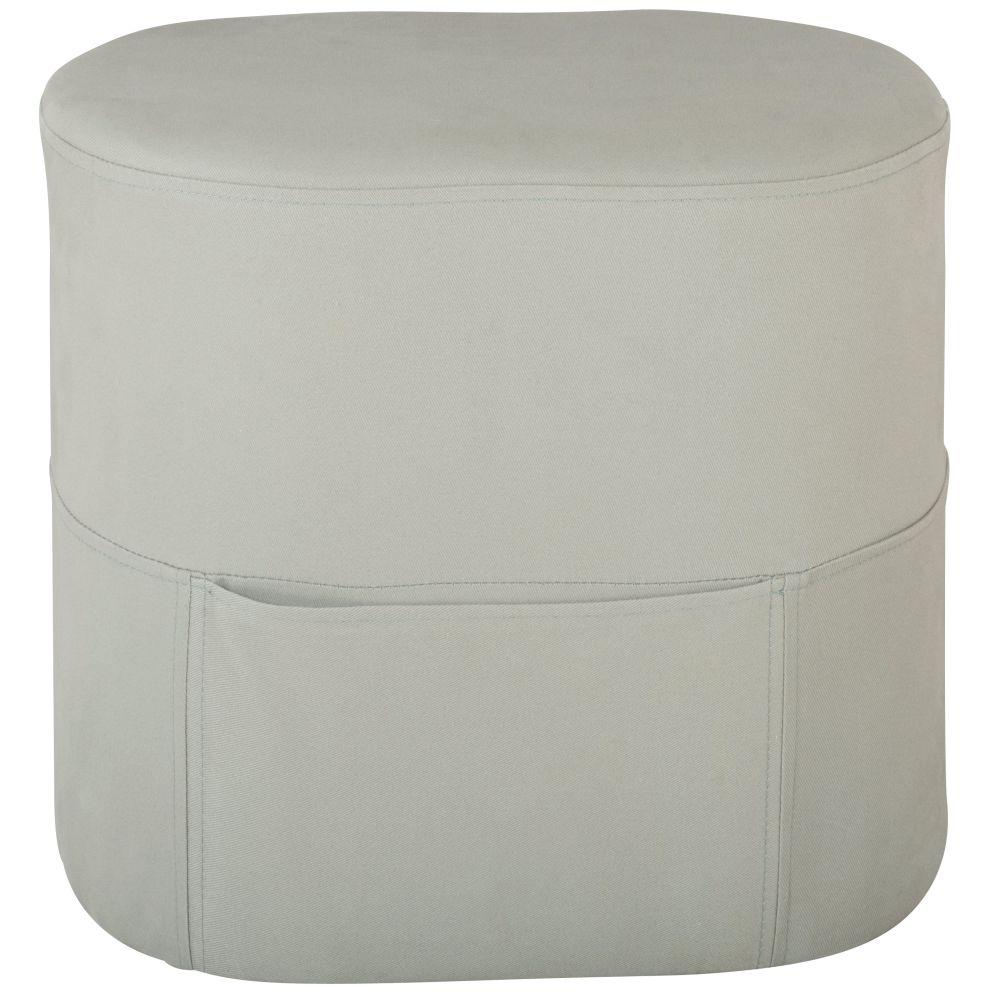 Pouf gris avec poches de rangement