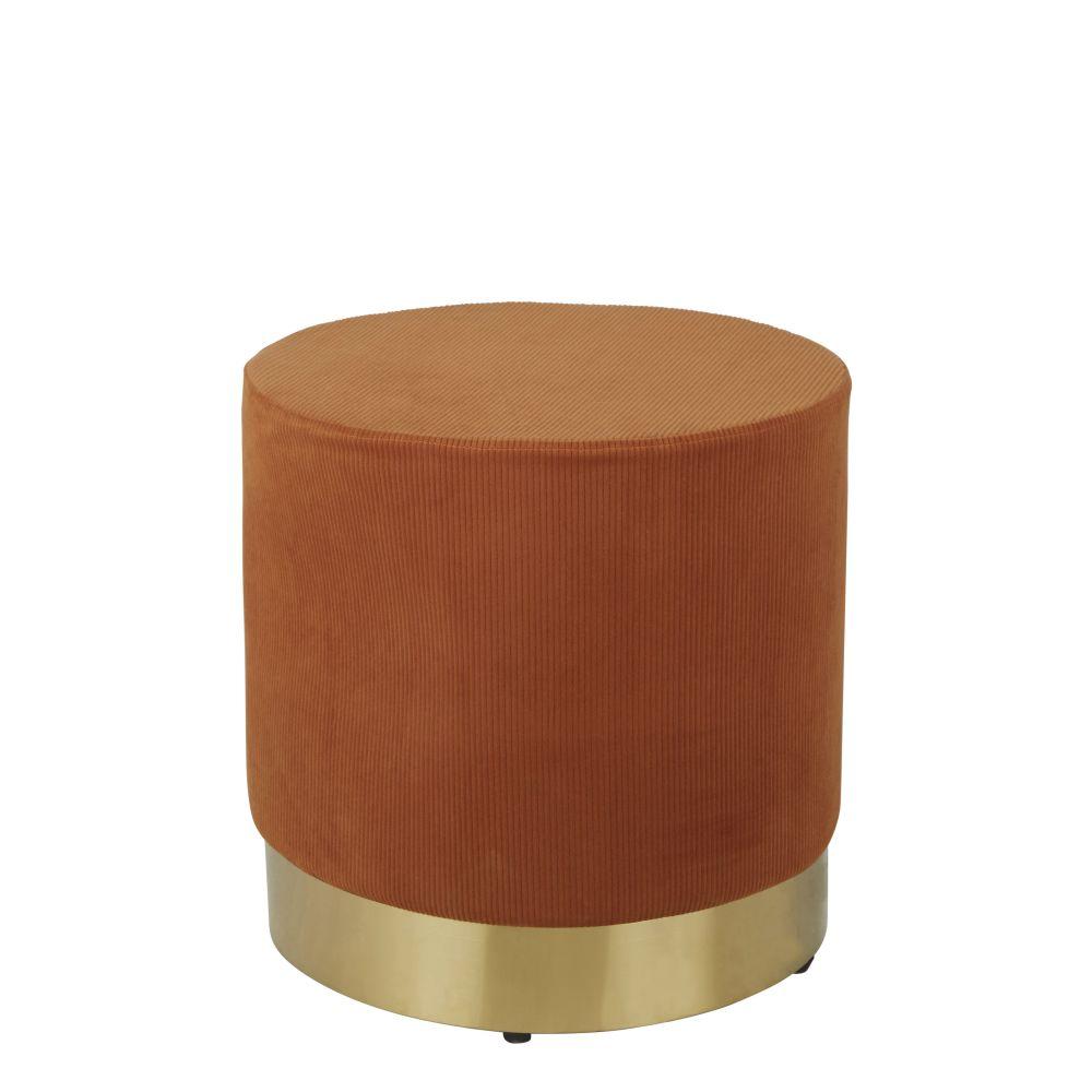 Pouf orange et métal doré
