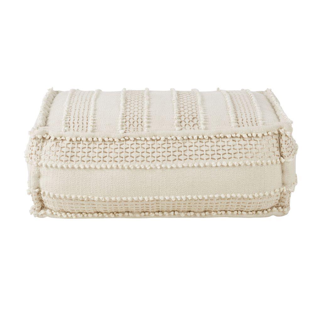 Pouf rectangulaire en coton blanc avec broderies et franges