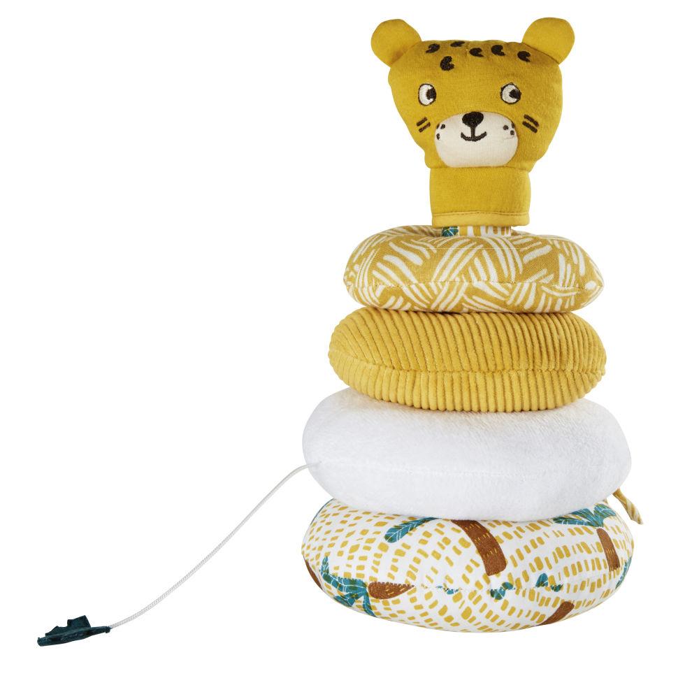 Pyramide d'éveil bébé tigre jaune moutarde et blanche