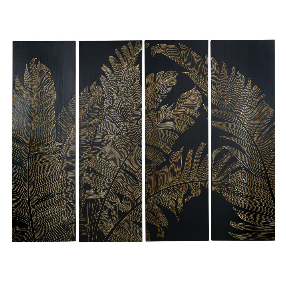 Quadriptyque feuillage gravé en paulownia noir 153x120