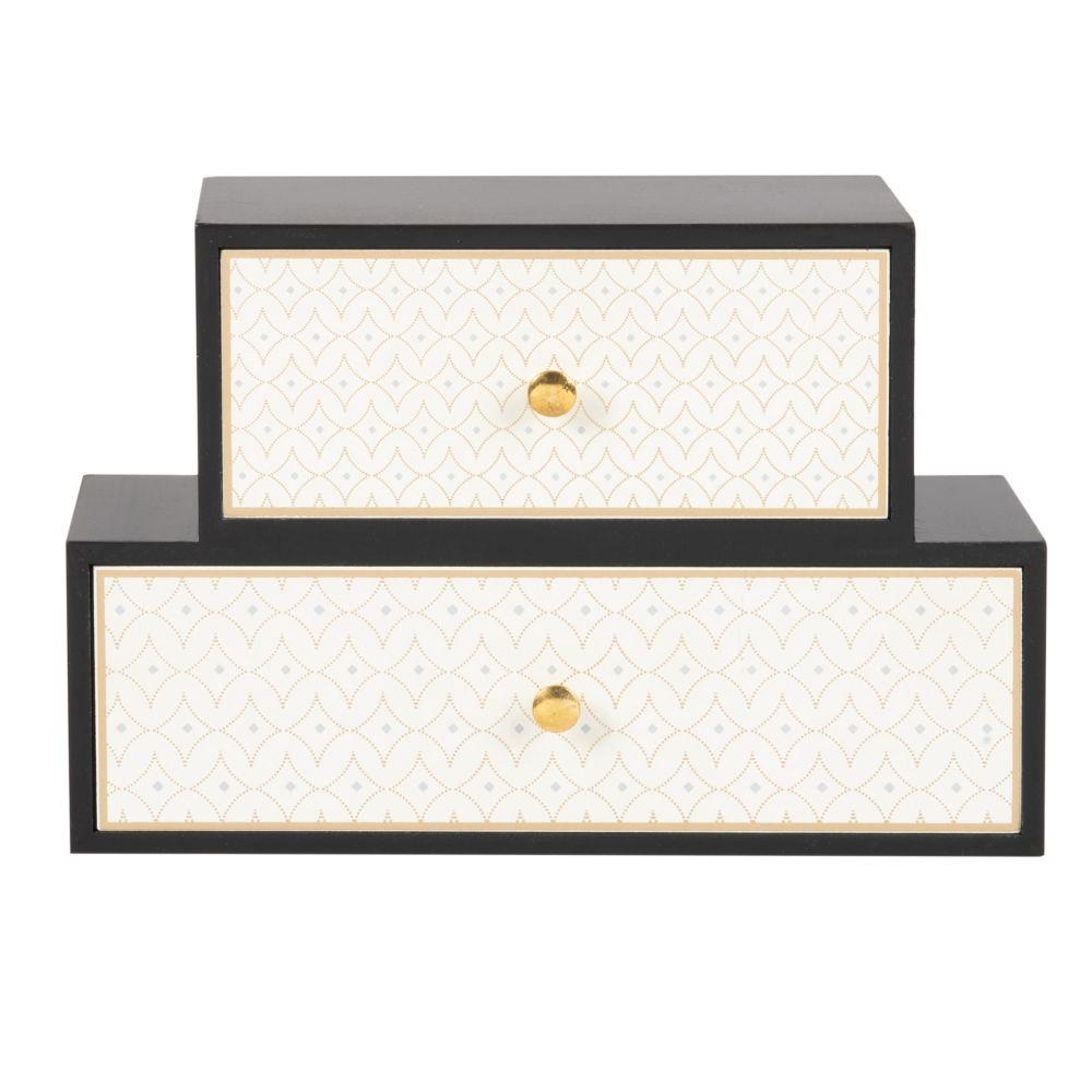 Rangement 2 tiroirs noir et crème à motifs dorés