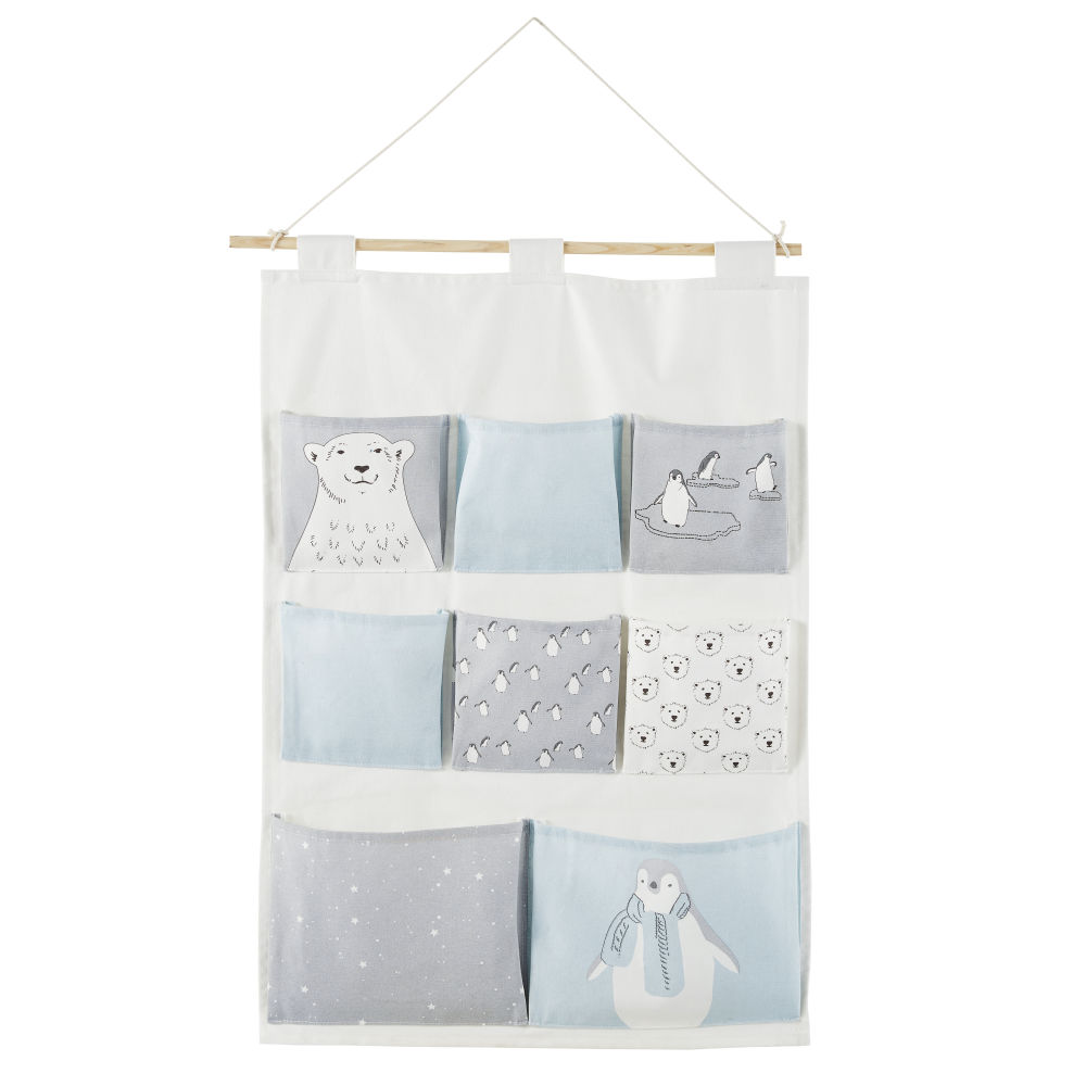 Rangement mural bébé 8 poches en coton blanc, gris et bleu à motifs