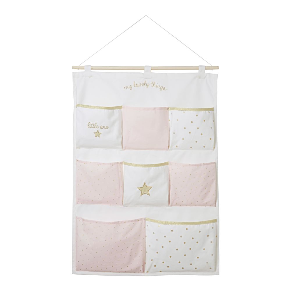 Rangement mural en coton blanc, rose et doré 50x70