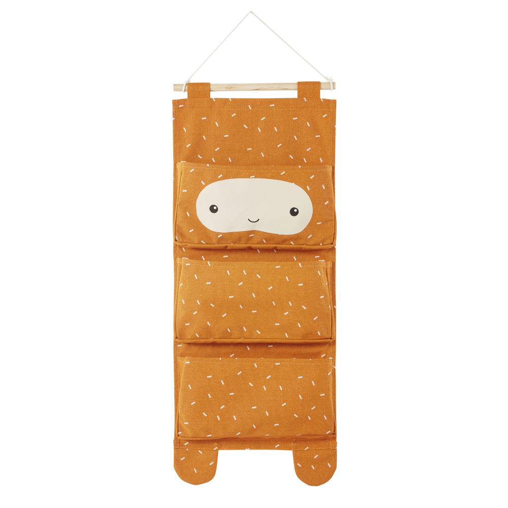Rangement mural enfant 3 poches en coton orange et beige à motifs