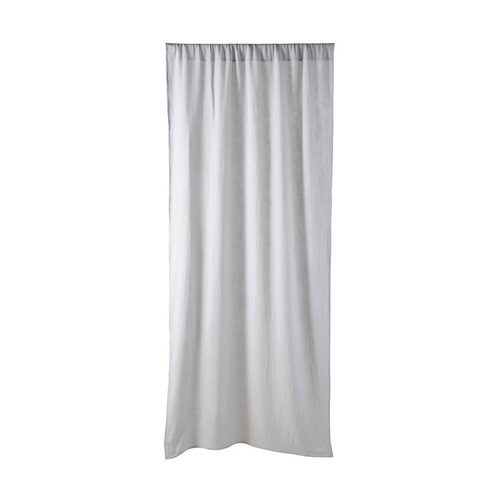 Rideau à galon fronceur en coton gris à l'unité 110x250