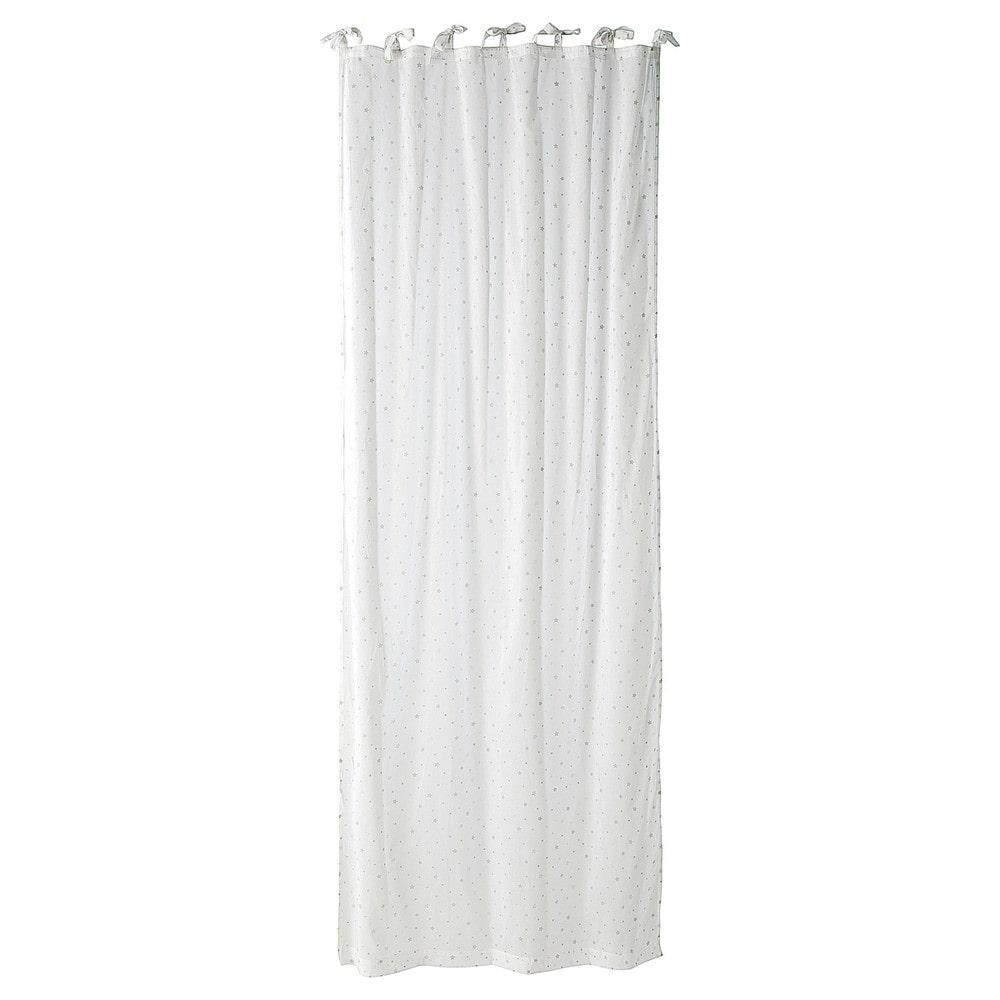 Rideau à nouettes en coton blanc à l'unité 102x250