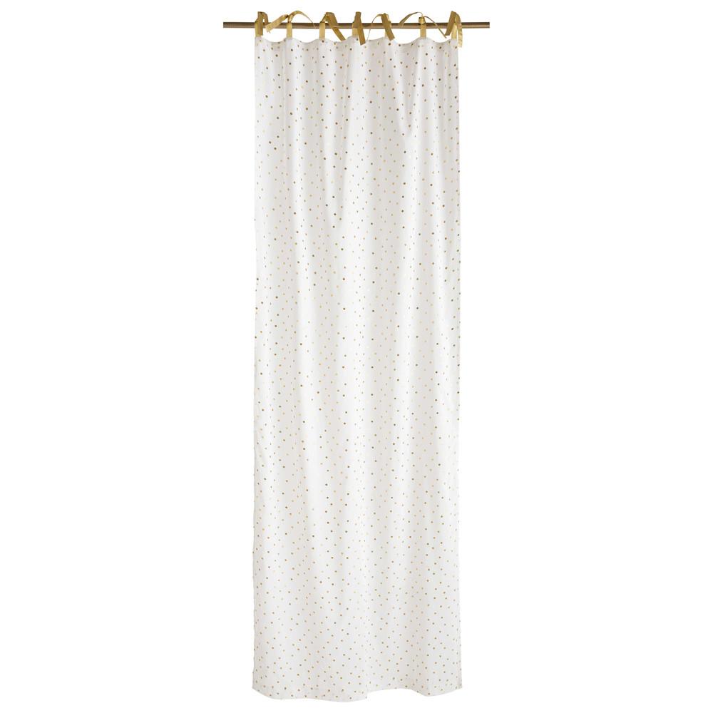 Rideau à nouettes en coton blanc à pois dorés à l'unité 102x250