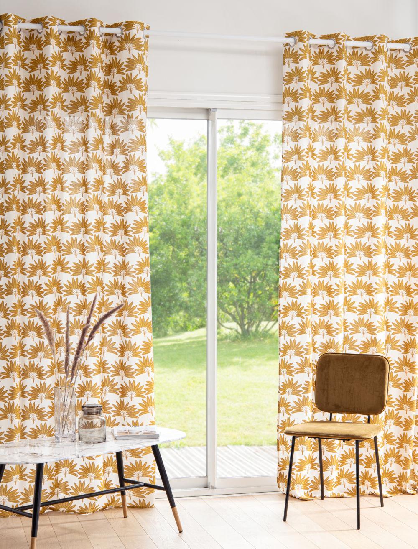 Rideau à œillets blanc imprimé jaune moutarde à l'unité 135x250