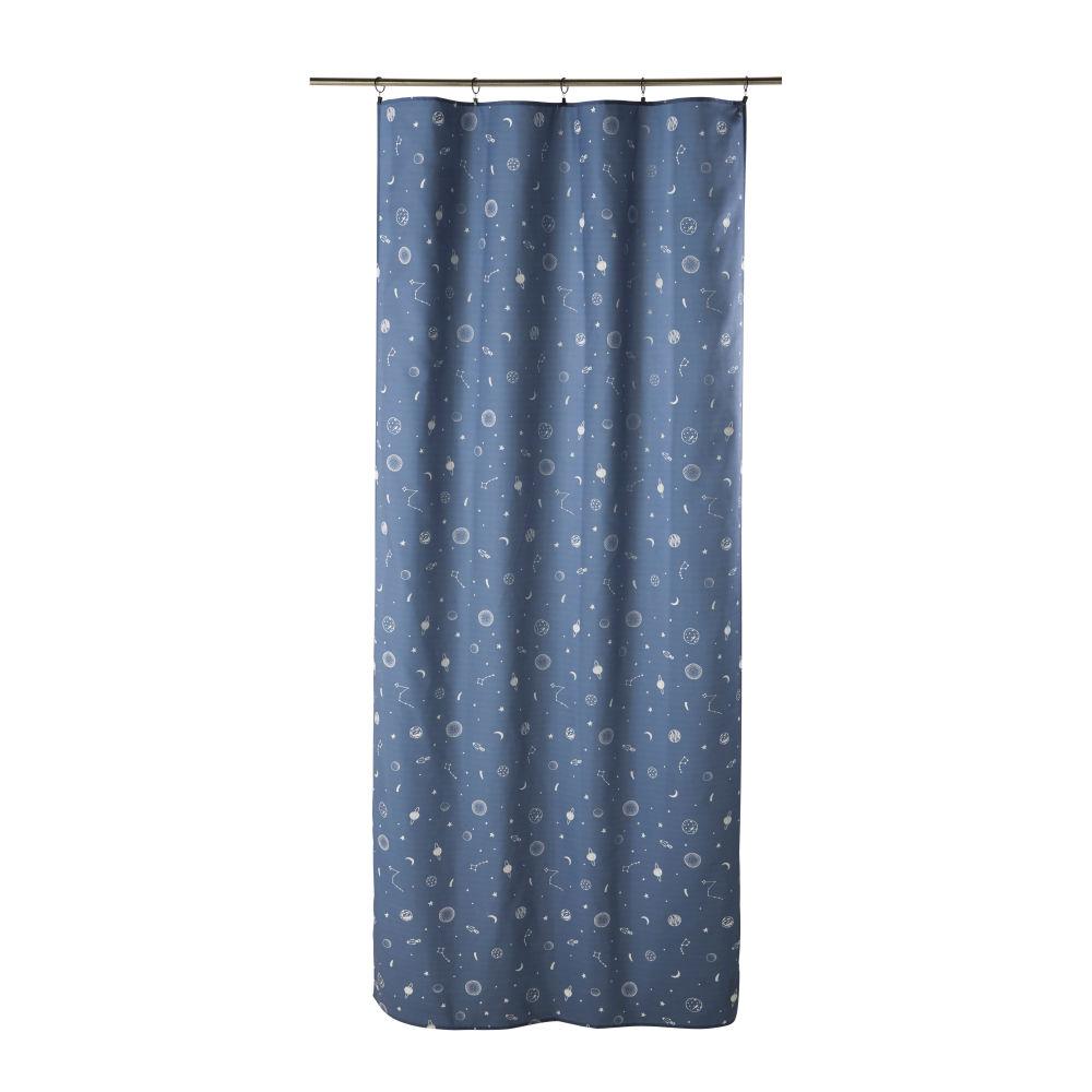 Rideau à œillets bleu marine imprimé à l'unité 110x250