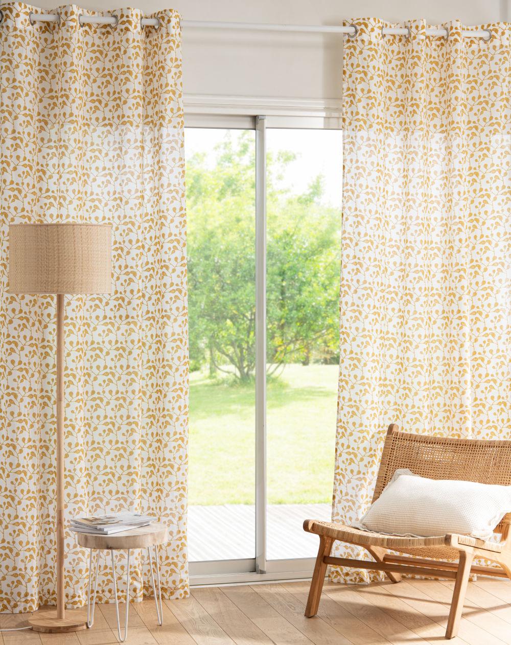 Rideau à œillets en coton blanc motif floral jaune à l'unité 140x250