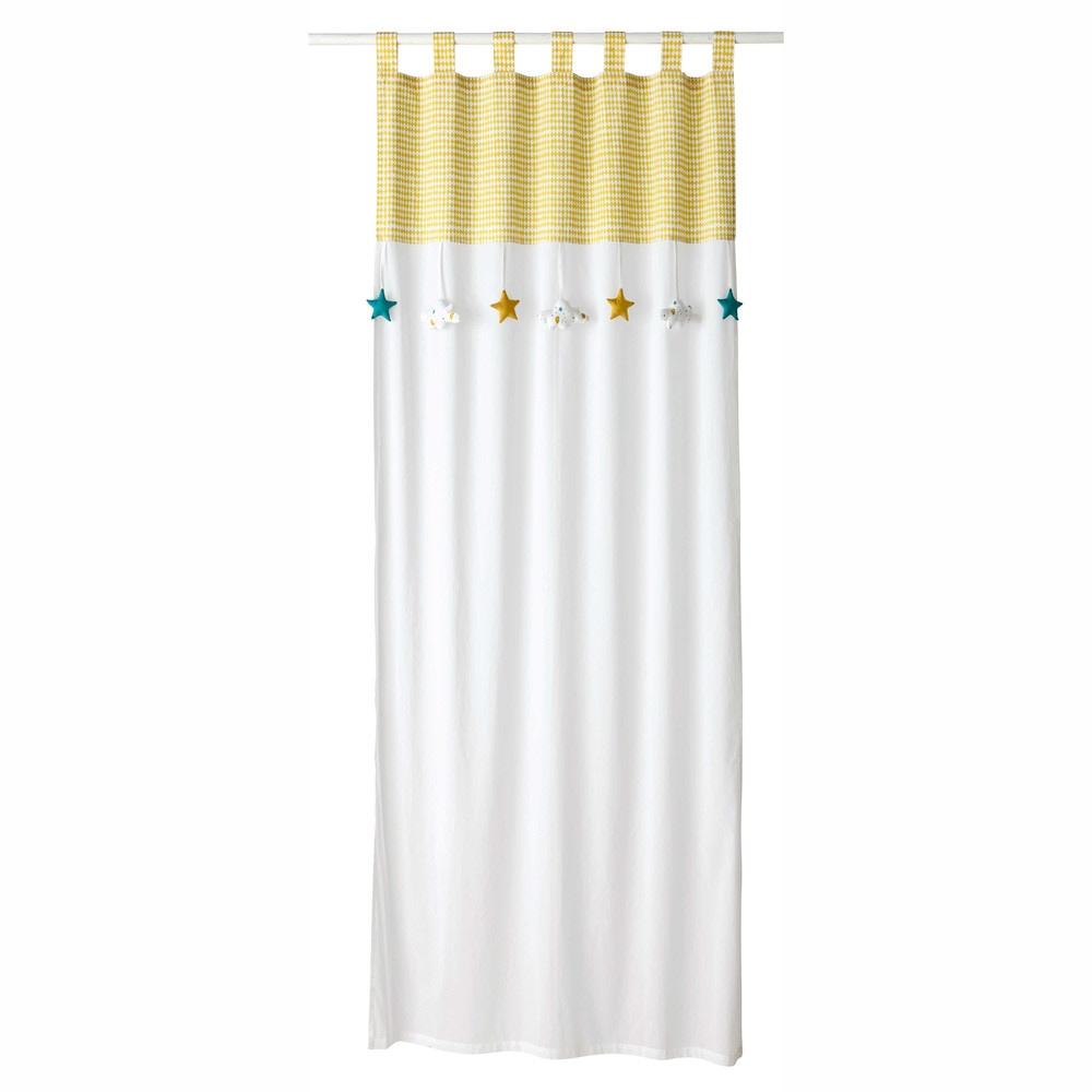 Rideau à passants en coton blanc et jaune à l'unité 110x250