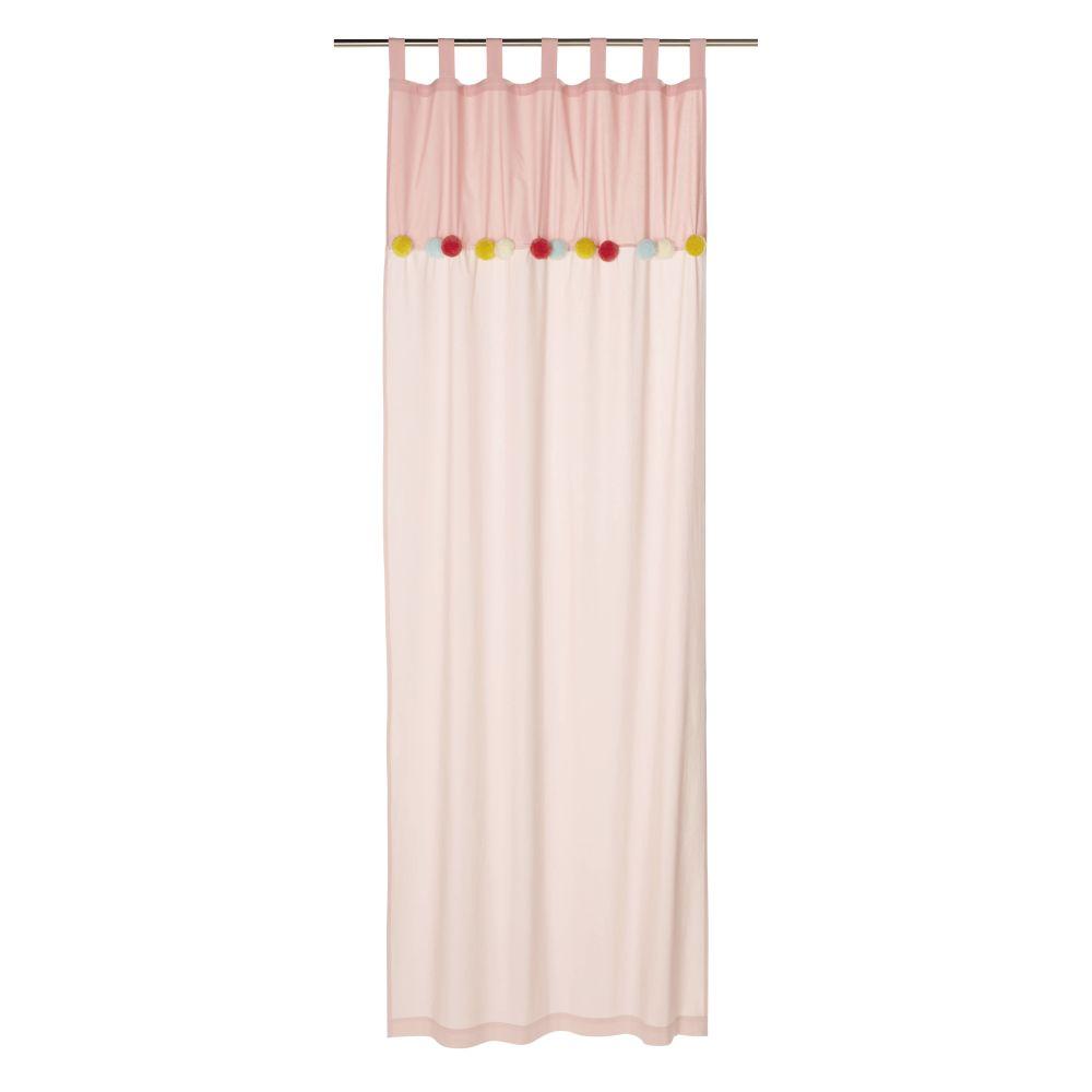 Rideau à passants en coton rose à pompons à l'unité 105x250