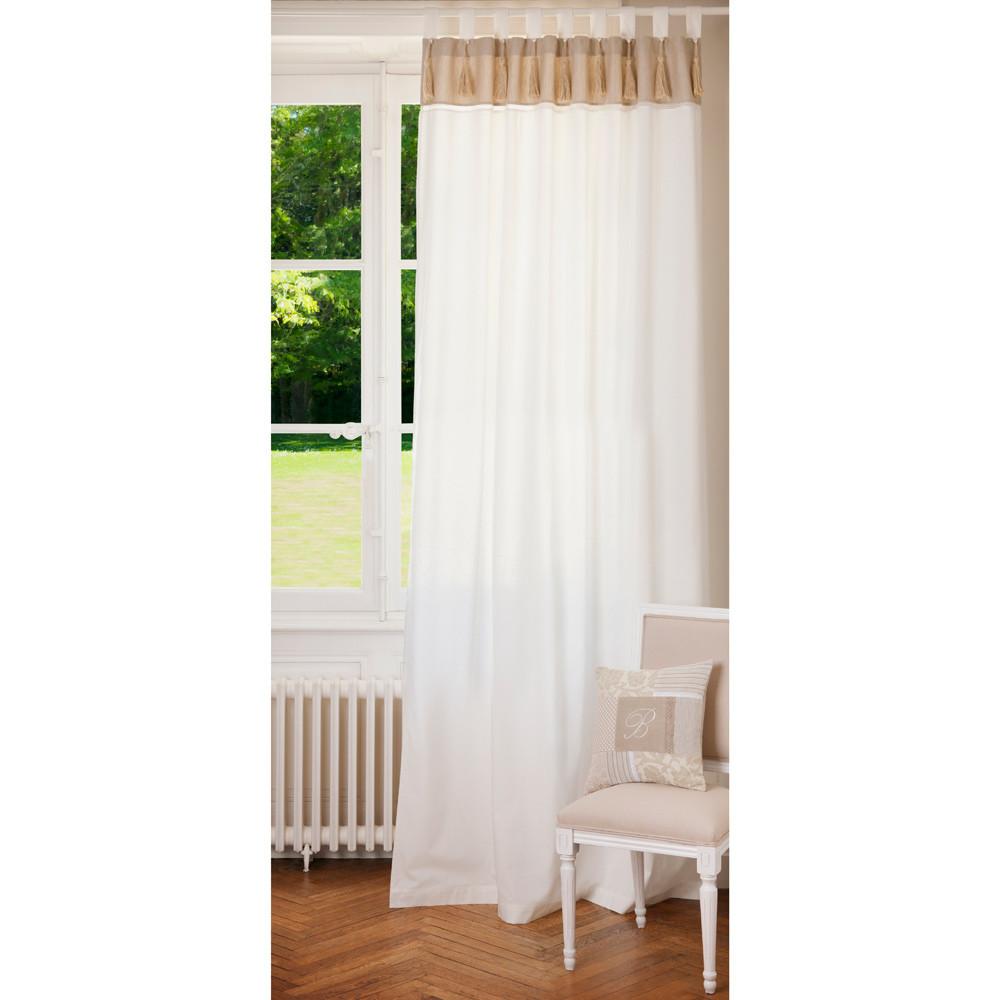 Rideau double à passants en coton blanc et beige à l'unité 150x250