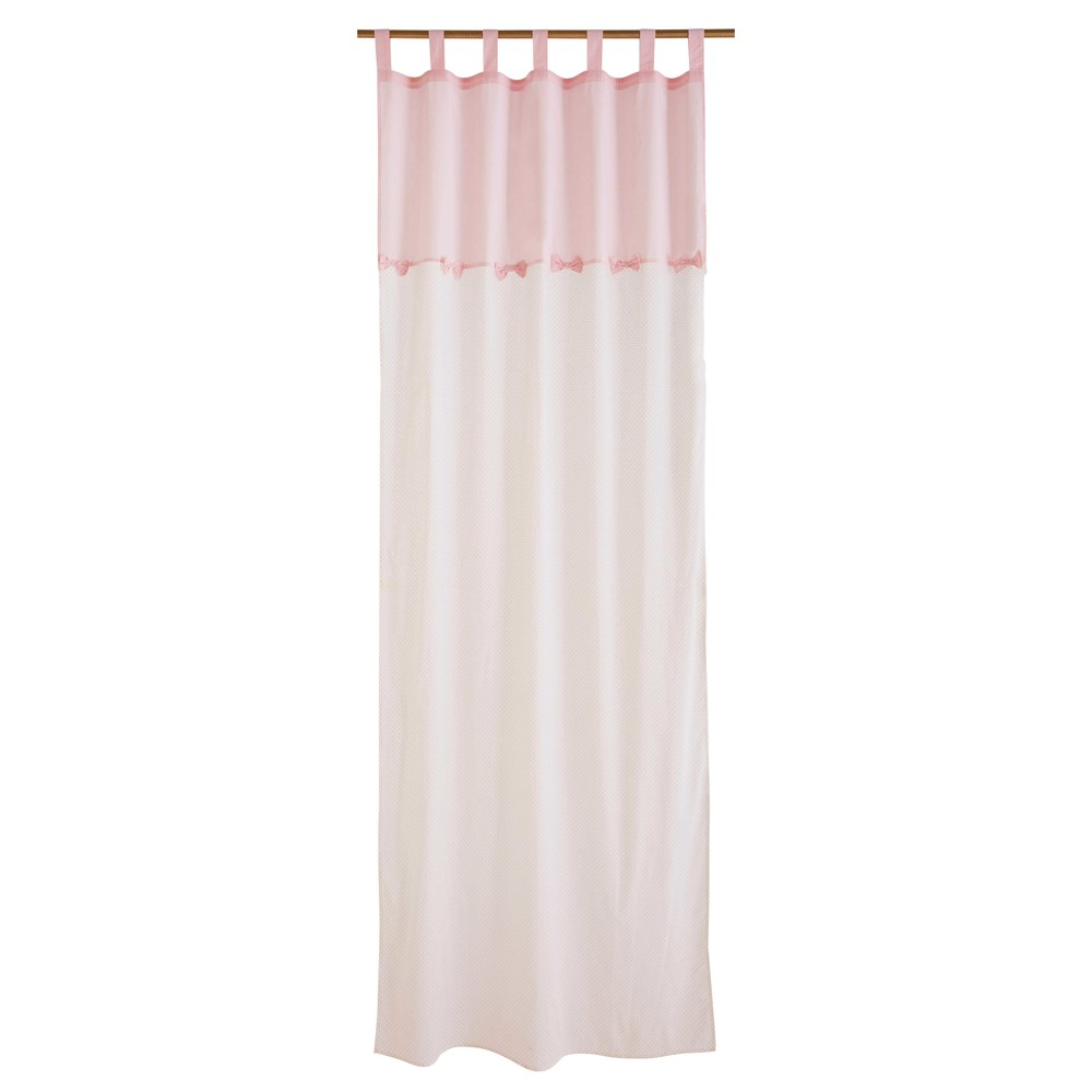 Rideau en coton blanc et rose à l'unité 110x250