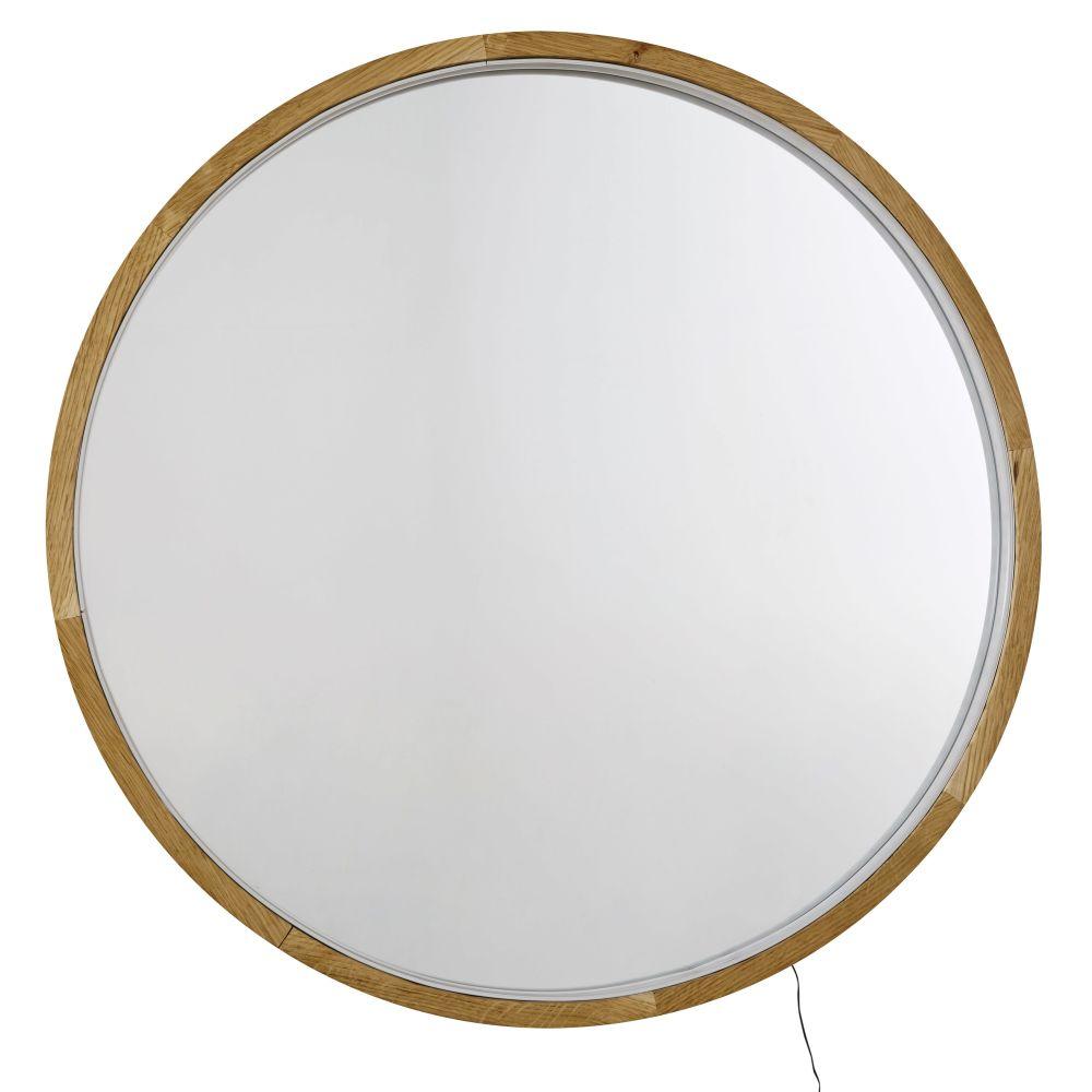 Ronde Lichtgevende Spiegel Van Eikenhout D90