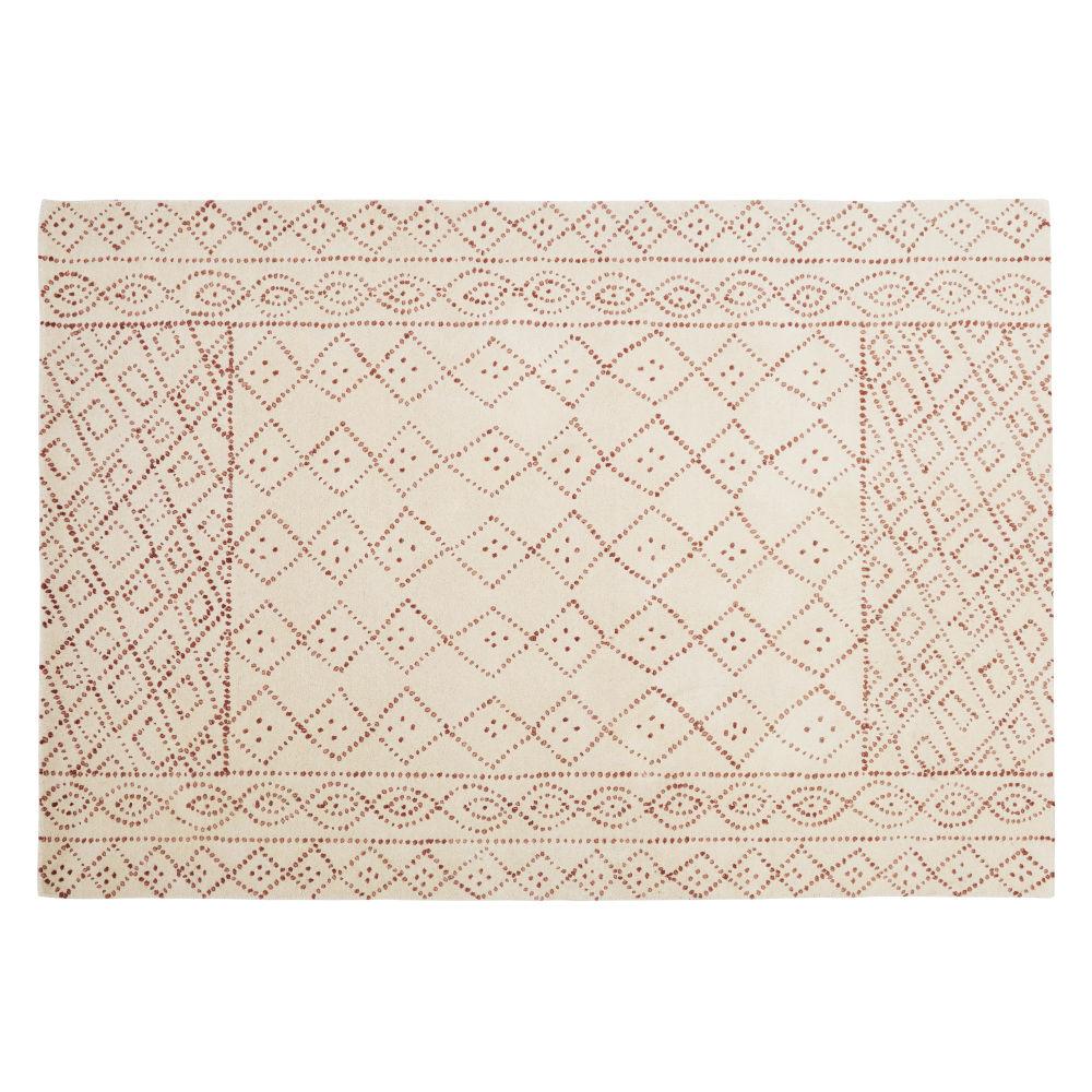 Roze, Beige Wollen Tapijt Met Handgetufte En Geknoopte Grafische Print 140 X 200 Cm