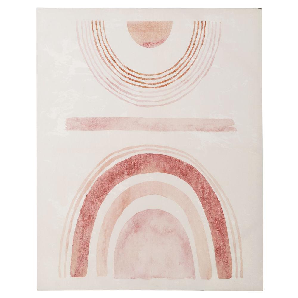Roze En Beige Bedrukt Canvas 80 X 100 Cm
