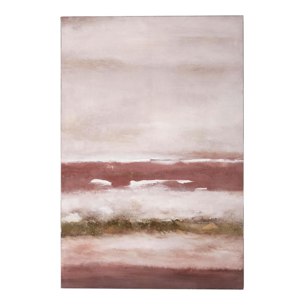 Roze En Goudkleurig Beschilderd Doek 80 X 120 Cm