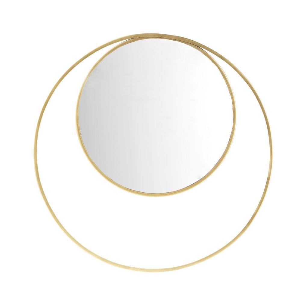 Runder Doppel-Spiegel mit Rahmen aus goldfarbenem Metall D.90