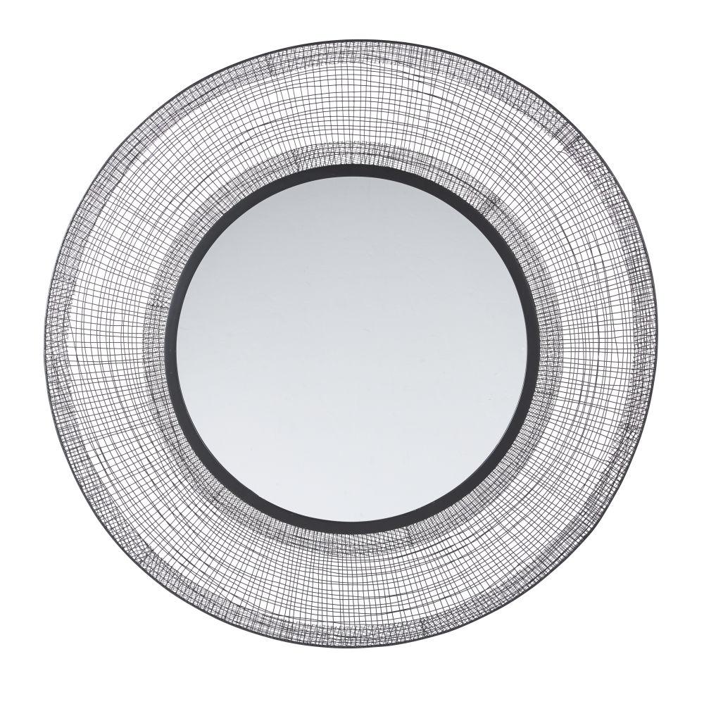 Runder Spiegel aus geflochtenem Metall, schwarz D100