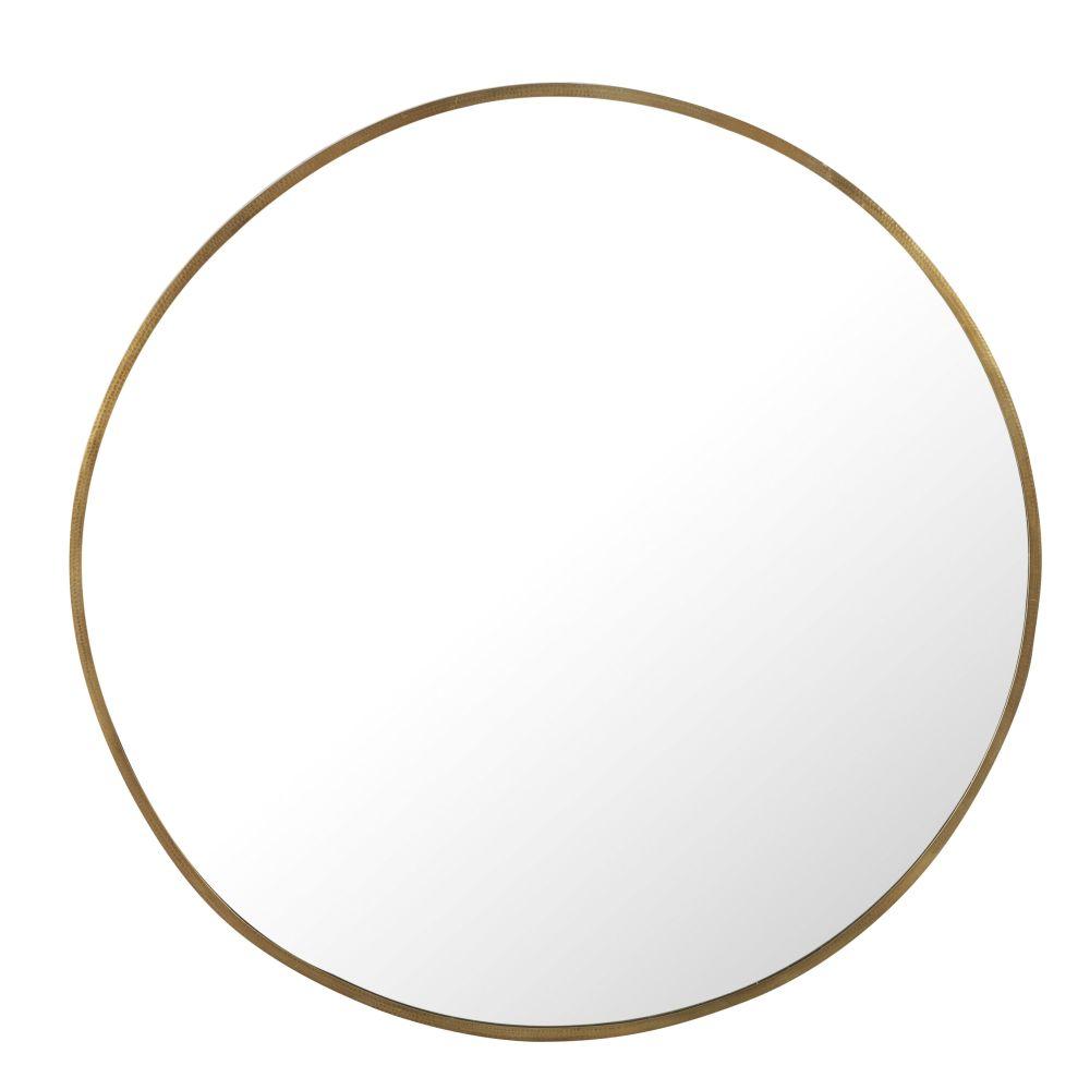 Runder Spiegel aus gehämmertem Metall, messingfarben D130