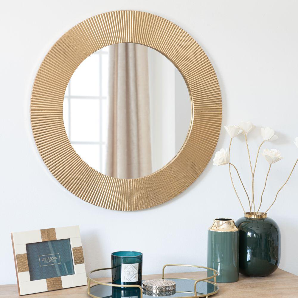 Runder Spiegel aus Metall, goldfarben, gerillt D66