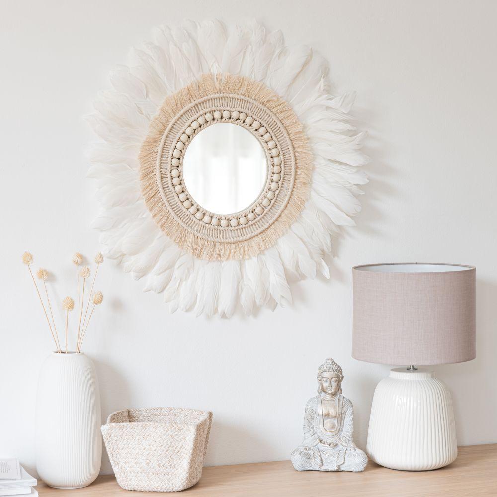 Runder Spiegel mit Baumwolle und weißen Federn D60