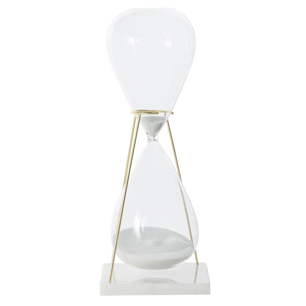 Sablier blanc en verre et métal doré (photo)