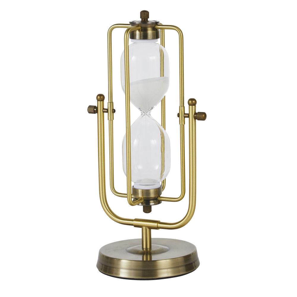 Sablier déco en verre et métal doré H30 (photo)