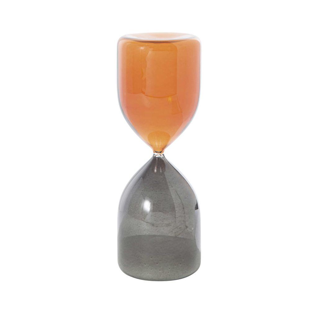 Sablier en verre fumé noir et marron H30 (photo)