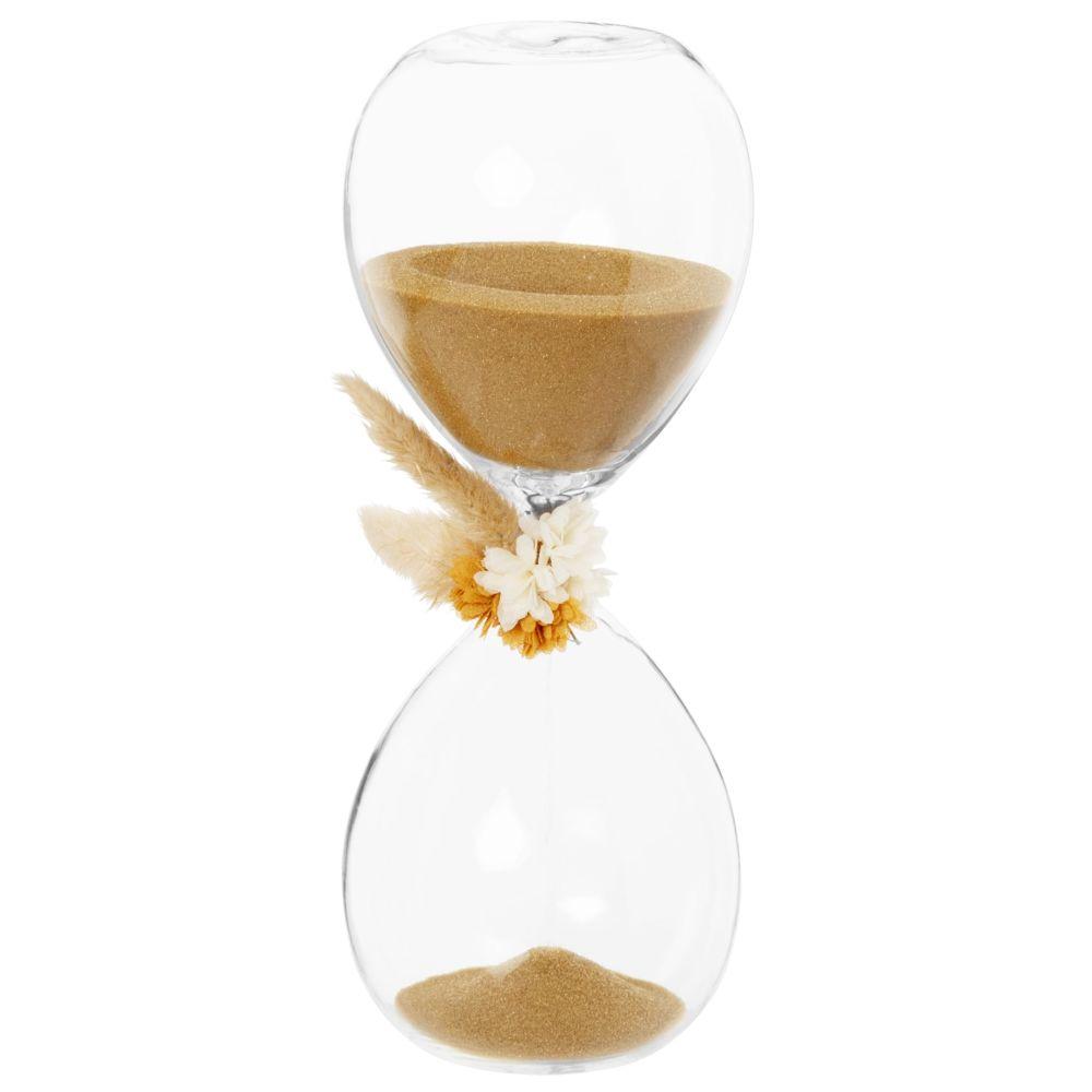 Sablier en verre ornement fleur séchée (photo)
